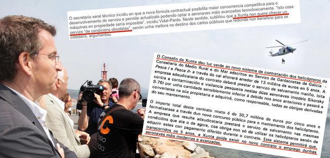 Notas de prensa de la Xunta de 2011 y 2012 en las que justificaba la venta de los helicópteros